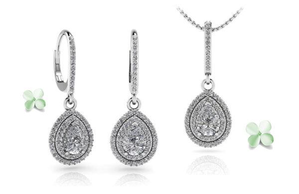 Vintage Teardrop Diamond Earrings and Pendant