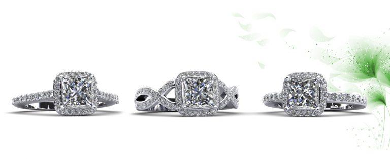 Anjolee Princess Cut Engagement Rings