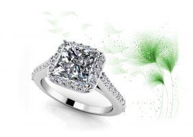Sweet Romance Square Frame Engagement Ring