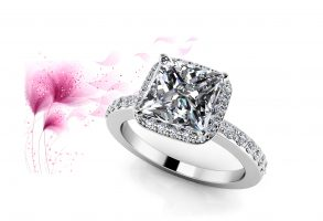 Forever Love Princess Cut Halo Engagement Ring