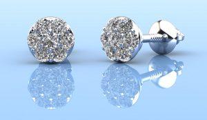 Alluring Diamond Cluster Stud Earrings