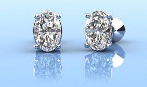 Oval Opulence Diamond Stud Earrings